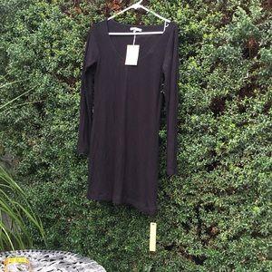 Black rib knit dress